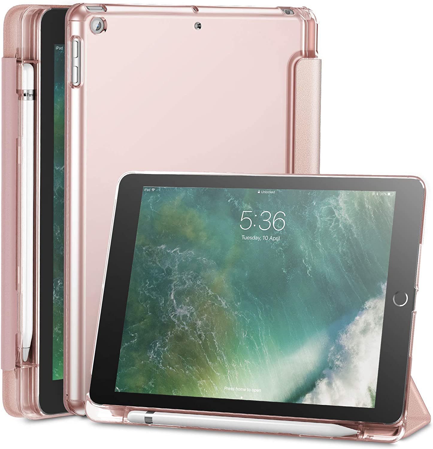 Infiland iPad 9.7 2018 Case with Apple Pencil Holder, Stand Case with Translucent Frosted Back Smart Cover Compatible with Apple iPad 9.7inch (6th Gen) 2018 Release, Rose-Gold