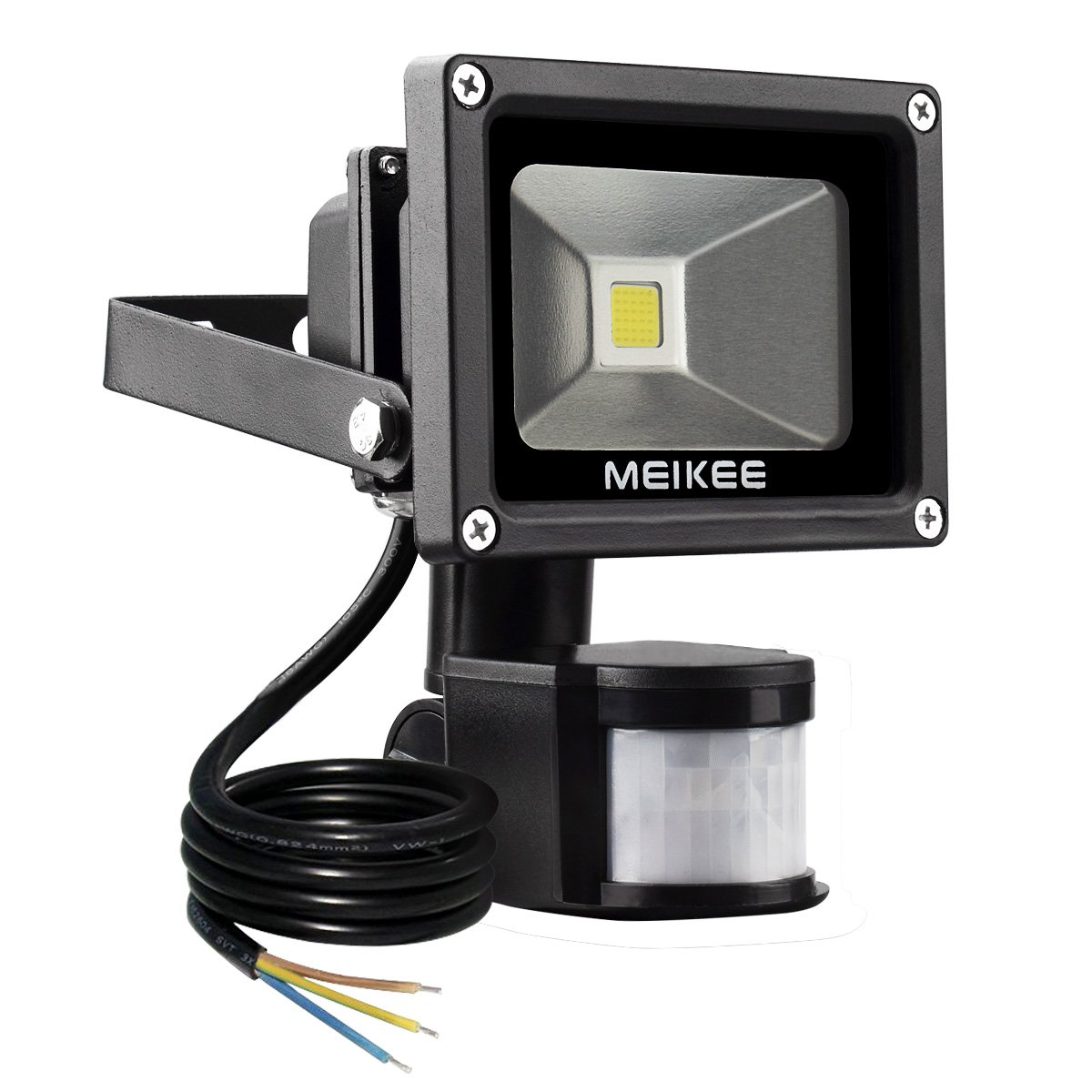 MEIKEE Projecteur LED détecteur de mouvement 10W Lumire led mural IP 65 étanche 6000K 900LM éclairage extérieur idéal pour jardin, cour, couloir, etc