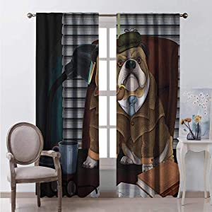 HELLOLEON English Bulldog Blackout Curtain Traditional English Detective Dog with a Pipe and Hat Sherlock Holmes Image 2 Panels W72 x L84 Inch Multicolor