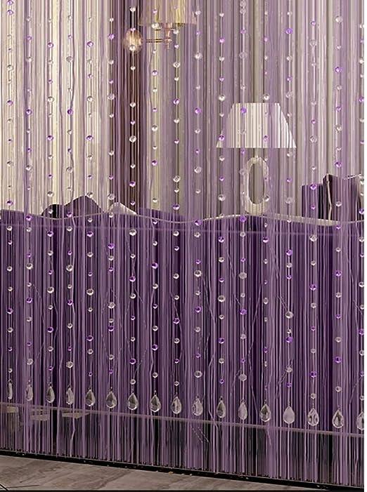 GDMING Cristal Cortina De Cuentas Borla Cortinas De Hilos para Puertas Decoración del Hogar Purpurina Panel Cortina Panel Cortina Cadena Sala,Personalizable (Color : Purple, Size : 90x200cm): Amazon.es: Hogar