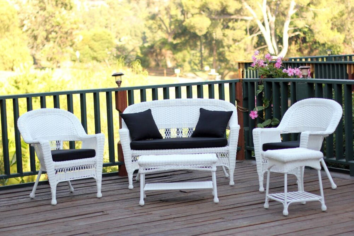 Amazon com 5 piece flynn white wicker patio chair loveseat table furniture set black cushions garden outdoor