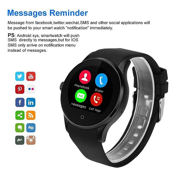 Excelvan K88S - Smartwatch Reloj Pulsera Deportiva (2G Nano Sim, Ritmo Cardiaco, Podómetro, Recordatorio Llamada SMS, Recordatorio Sedentaria, Monitor ...