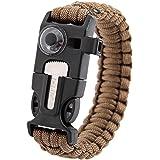inlife multifunzione 5in 1di sopravvivenza Outdoor Termometro a maglia braccialetto di sopravvivenza fischietto Flint//Fire Starter raschietto