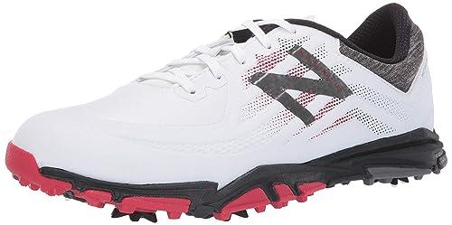 da6cdbe3600d1 New Balance Men's Minimus Tour Waterproof Spiked Comfort Golf Shoe, White/ red/Black