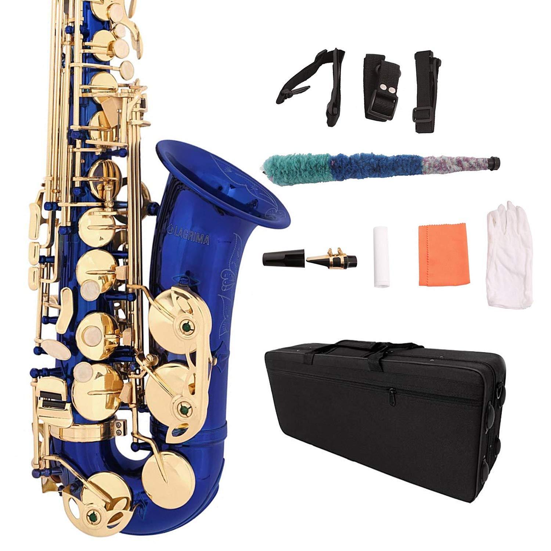 LAGRIMA Professional Alto Blue Eb SAX Saxophone, Lacquer E Flat Alto Sax for Beginners Adult w/Tuner, Case, Mouthpiece, Cleaning Cloth Rod, Glove, Neck Strap