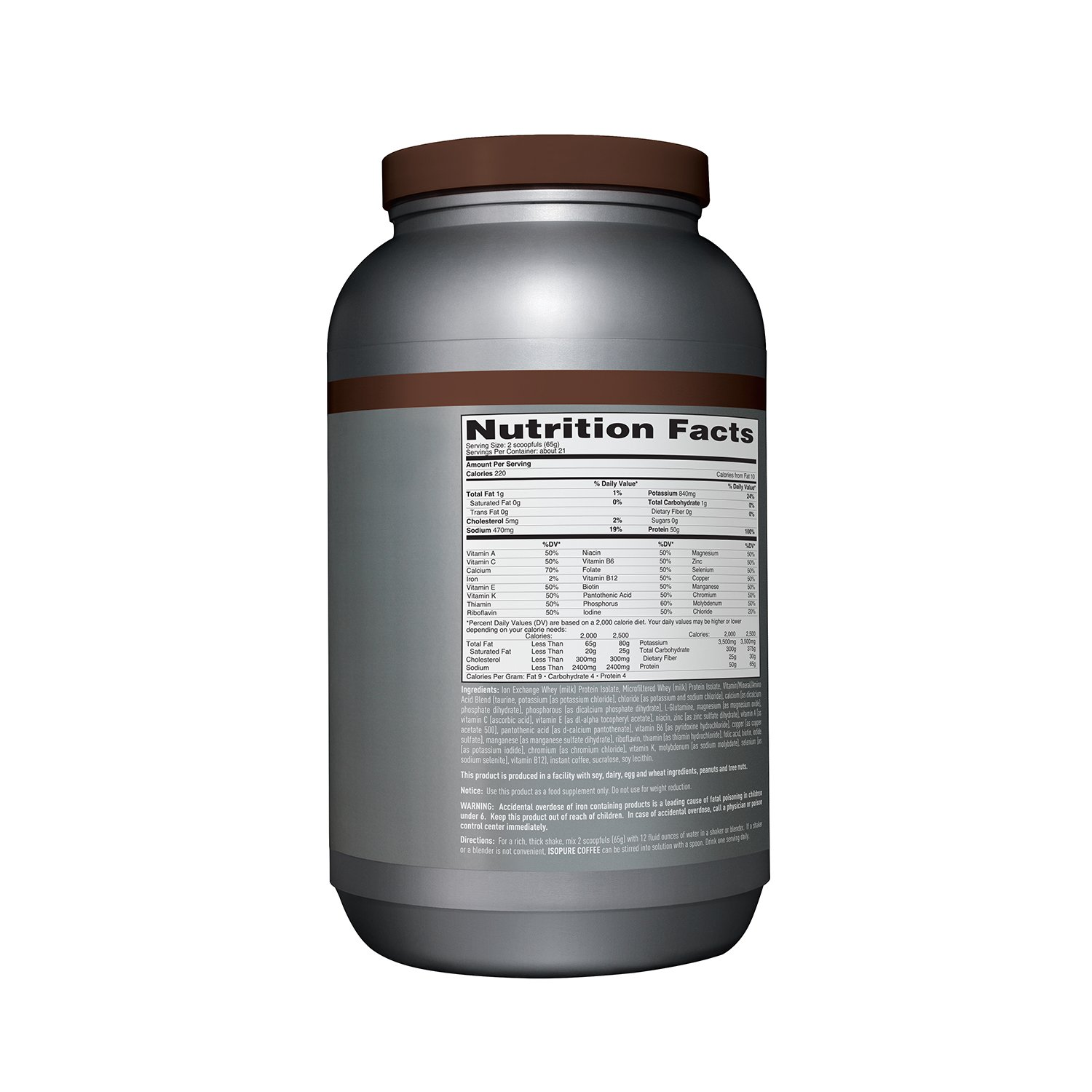 Amazon.com: Isopure With Coffee Protein Powder, 100% Whey Protein Isolate, Flavor: Espresso, 3 Pounds (Packaging May Vary)