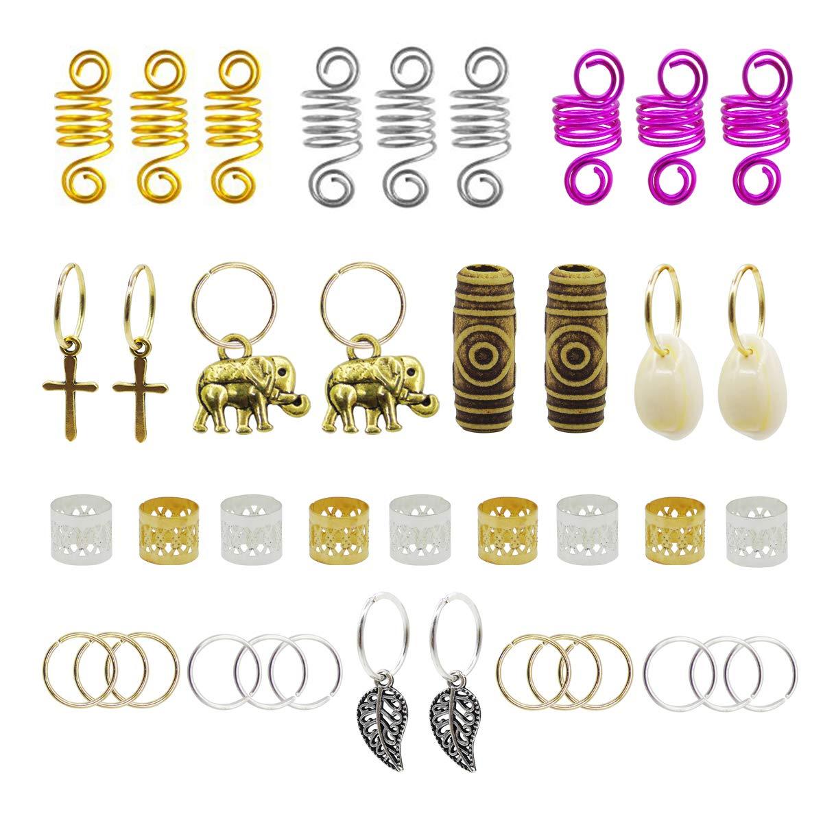 120pcs Dredlock Beads Accessories, Grosun Hair Charms Pendants Hair Rings Braid Cuffs Braid Hair Accessories Braid Jewelry for Hair