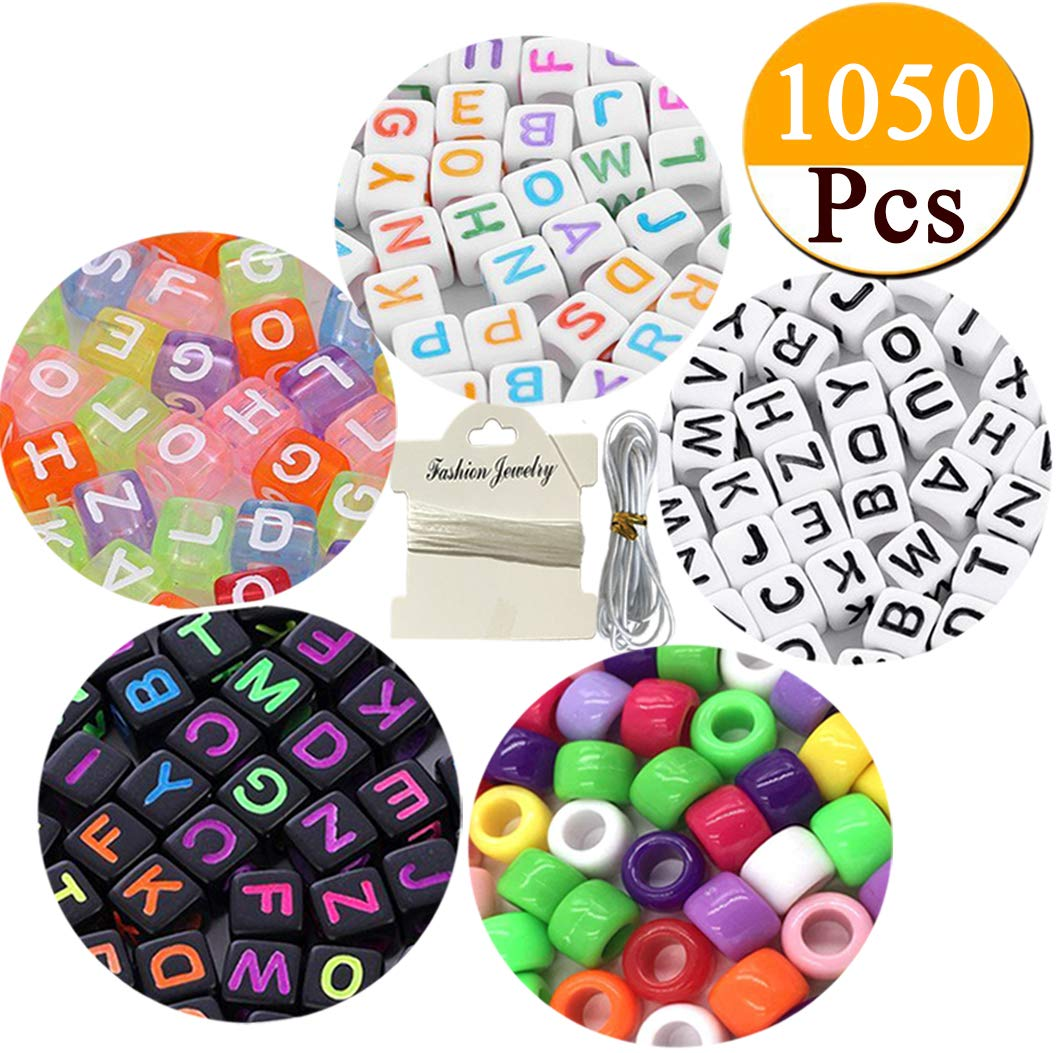 1050pcs Acrylic Alphabet Letter Beads Kandi Beads A-Z Cube Beads 4 Colors with Colorful Beads for Kids DIY Necklace Bracelet,2 Beading Cords Included (6mm) FOLAI
