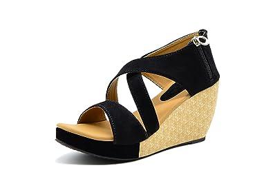 Myra Womens 3 Inch Textured Black Heel Wedges