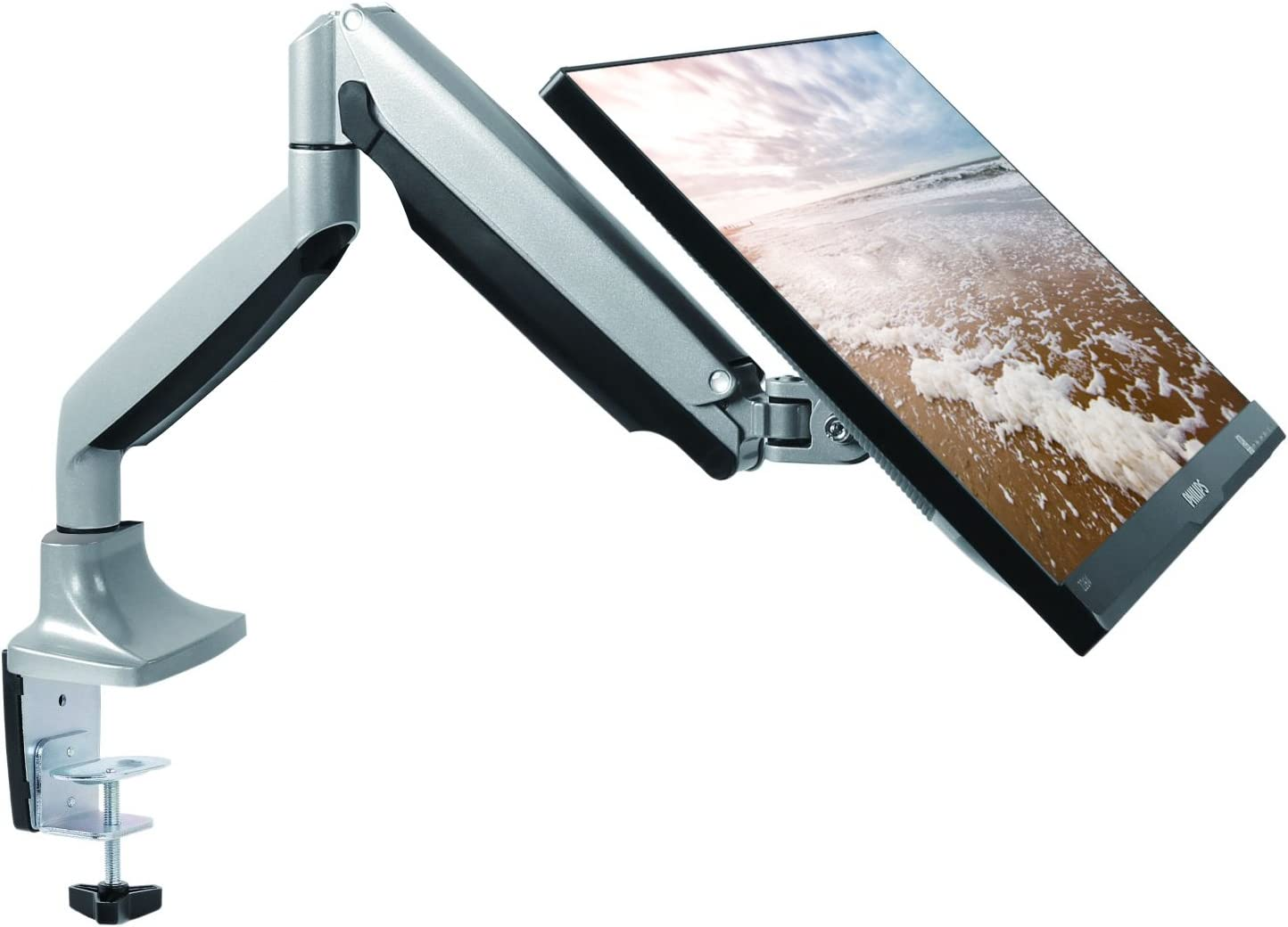 "TechOrbits Monitor Mount Stand - SmartSWIVEL - Computer Screen Desk Mount Arm - Full Motion Swivel Articulating Gas Springs - Universal Fit for 13"" - 30"" Screens Vesa Mount"