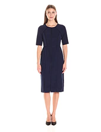 35a01d37 Maggy London Women's Dream Crepe Sheath with Elbow Sleeve, Patriot Blue, ...