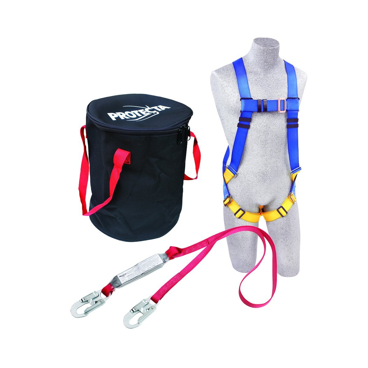 3M Protecta Compliance In A Can Light, 2199808 Roofers Kit, 5-Point Universal Harness, Single Leg 6' Shock Absorbing Lanyard, 310  lb. rated, Black/Red Bag
