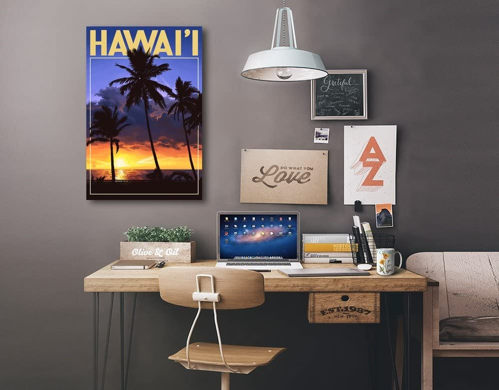 24x36 Giclee Gallery Print, Wall Decor Travel Poster Palms and Sunset Hawaii