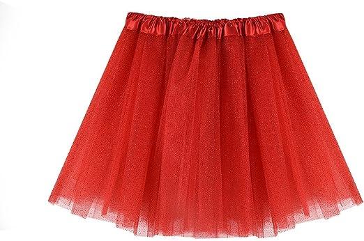 Yukong Falda tutú para niñas, Falda de Tul Brillante en Capas para ...