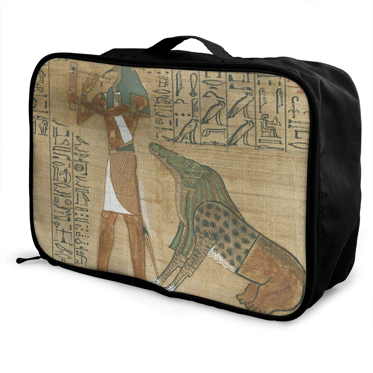 ADGAI People in The Egyptian Pyramid 2 Canvas Travel Weekender Bag,Fashion Custom Lightweight Large Capacity Portable Luggage Bag,Suitcase Trolley Bag