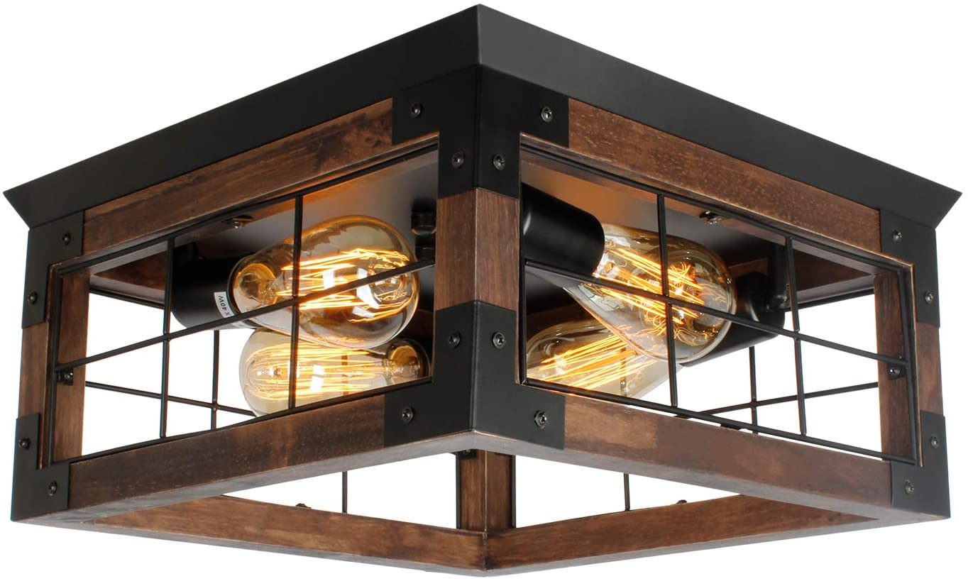 Amazon Com Jhlbyl Farmhouse Wood Flush Mount Ceiling Light Black Metal Rustic Close To Ceiling Lighting Industrial Square Wire Cage Ceiling Light Fixture With 4 E26 Blub Socket For Farmhouse Kitchen Dining Room Home