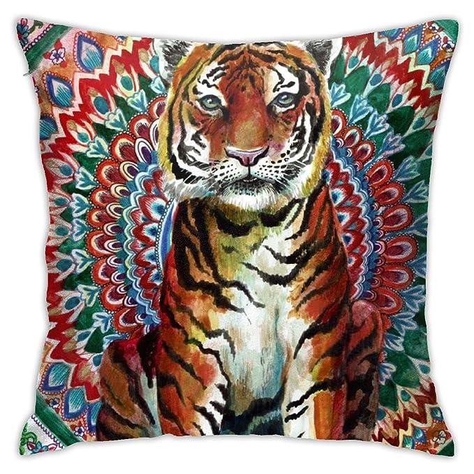 Jacklee Tiger Watercolor Yoga Mandala Funda de cojín para ...