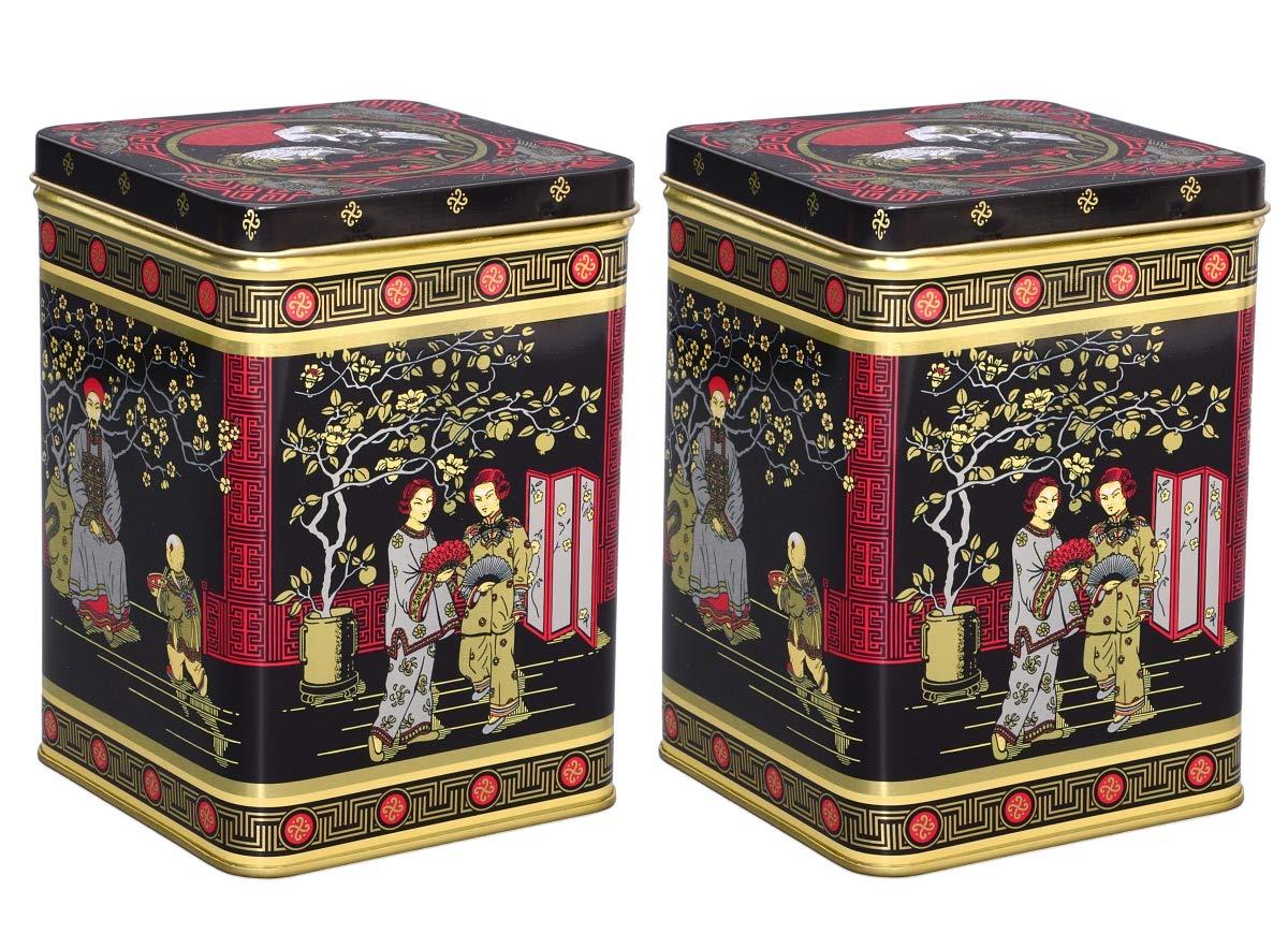 2 St/ück Black Japanese je 500g LxBxH 102 x 102 x 146mm eckig Aricola Teedosen Set//Kaffeedosen Set//Gew/ürzdosen Set