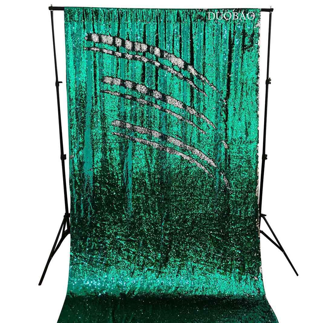 DUOBAO Sequin Backdrop 8Ft Mermaid Sequin Curtains Green to Silver Reversible Shimmer Backdrop 6FTx8FT Sparkle Photo Backdrop by DUOBAO