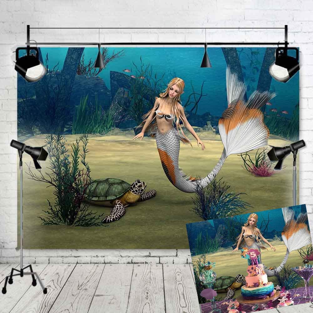 Art Studioビニール7 x 5ft写真背景海写真背景幕マーメイドとTurtles Studio小道具写真ブースパーティーDecoration Supplies xh008   B07F8Q5ZMX