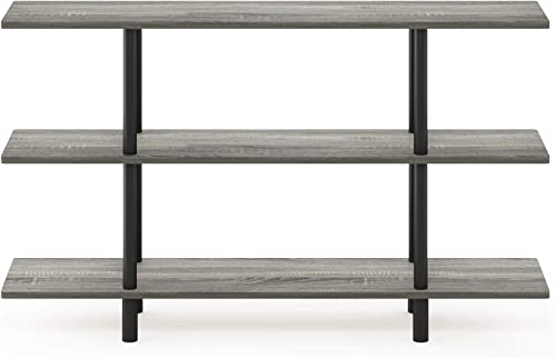 Furinno Turn-N-Tube 3-Tier Wide Display Shelf, French Oak Grey Black