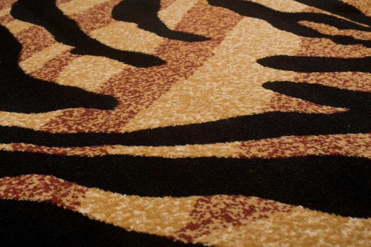 Tapiso Atlas Teppich Kurzflor Afrika Tiermuster Designer Leopard Tiger Zebra Braun Muster Braun Zebra Beige Schwarz Wohnzimmer Gästezimmer ÖKOTEX 250 x 350 cm c14794