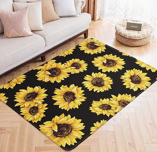 Sunflowers Floral Area Rugs Memory Foam Bedroom Floor Mat Living Room Carpets