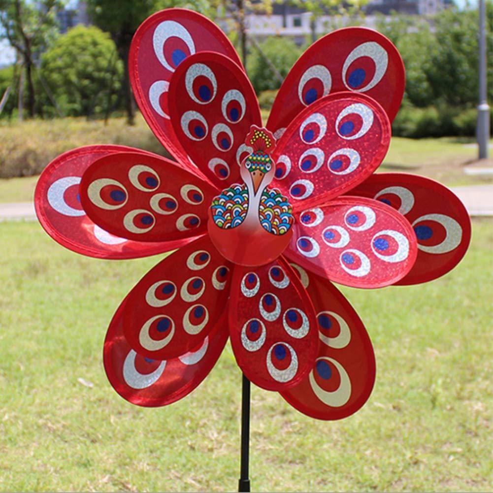 Outdoor dekoration kinder p/ädagogisches spielzeug Blau ECMQS doppel gro/ße pfau pailletten windm/ühle kreative dekorative windm/ühle