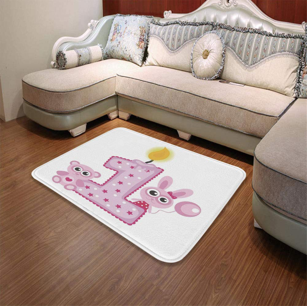 TecBillion Polyester Carpet,1st Birthday Decorations,for Meeting Room Dining Room,55.12'' x78.74'',Girls Party Theme with First Candle