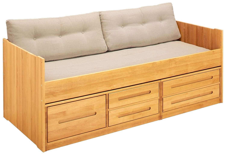 BioKinder 25184 Set Rückenlehne Sofakissen mit Laken für 90x200cm Couch Sofa in Natur