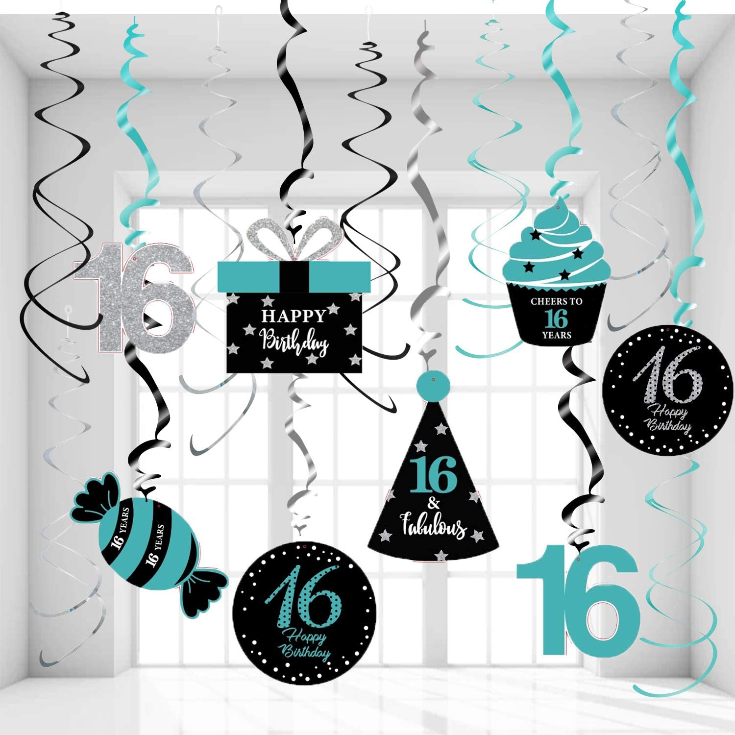 Sweet 16 Birthday Decorations Teal Silver Black for Women Qian's Party Teal Silver Black Foil Hanging Swirls Decorations Girl 16th Birthday Party Hanging Decor – Girl 16th Birthday Party Decoration Swirls of 15pcs
