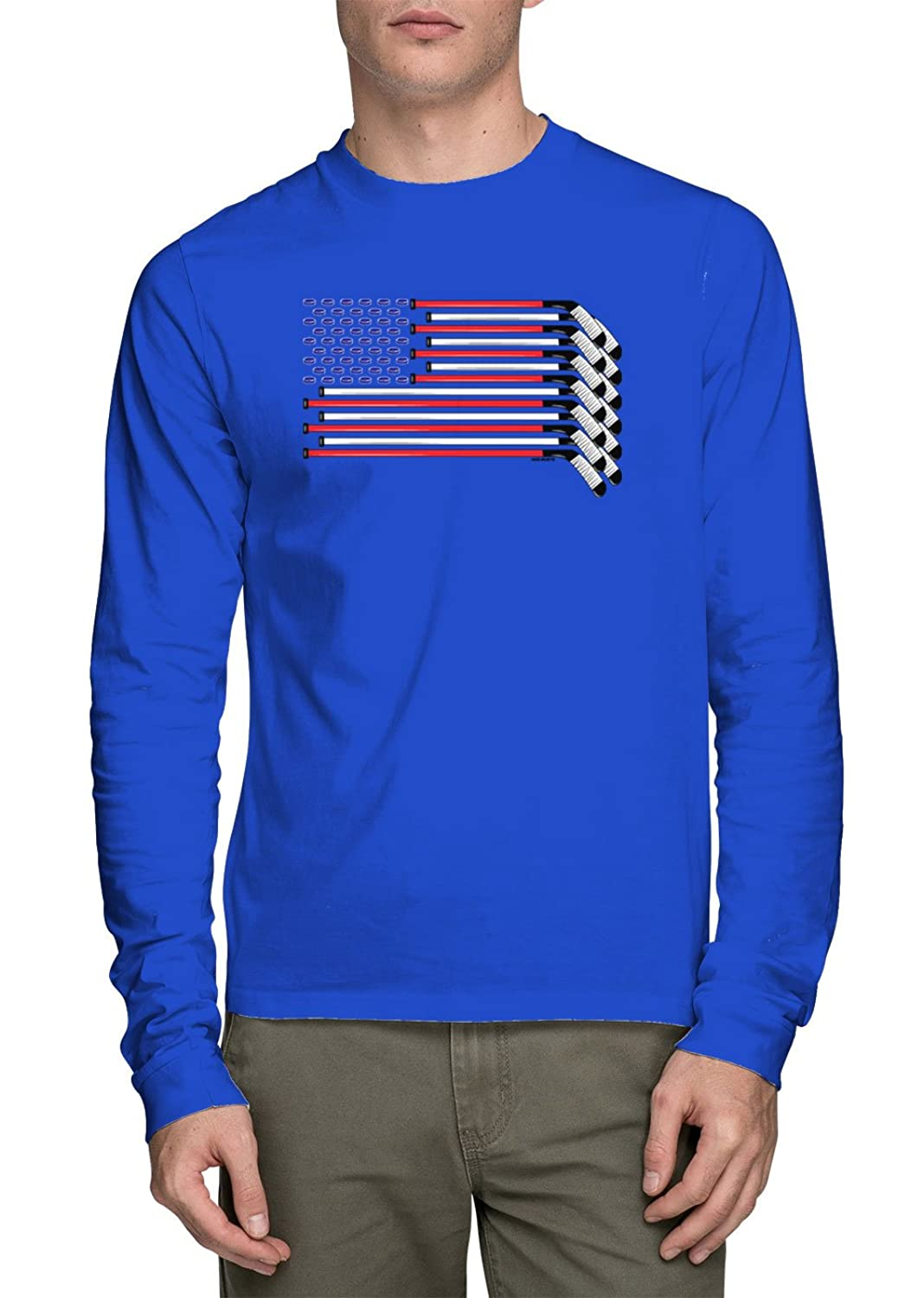 HAASE UNLIMITED Long Sleeves American Flag Made with Hockey Sticks and Puck T-shirt
