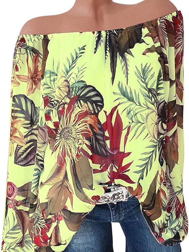 Sunnywill Camisetas Mujer Tallas Grandes Originales Rayas Blusa Mujer Elegante Manga Largo Algodón Otoño Fiesta Camisas Largo T Shirt Women Tops Invierno sin Hombros de Ropa: Amazon.es: Ropa y accesorios