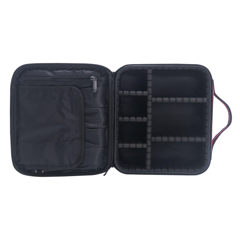 Makeup Case,MONSTINA Makeup Organizer,Travel Adjustable Makeup Train Case,Makeup Travel Bag Waterproof Travel Organizer Bag For Women/Girls (Rose Red)