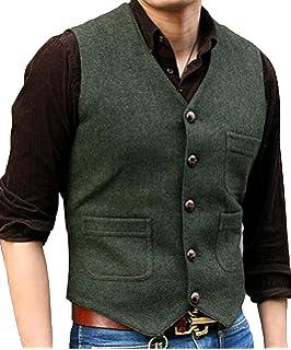 Pretygirl Men s V Neck Wool Herringbone Tweed Casual Waistcoat Business Suit  Vest 239778003de2