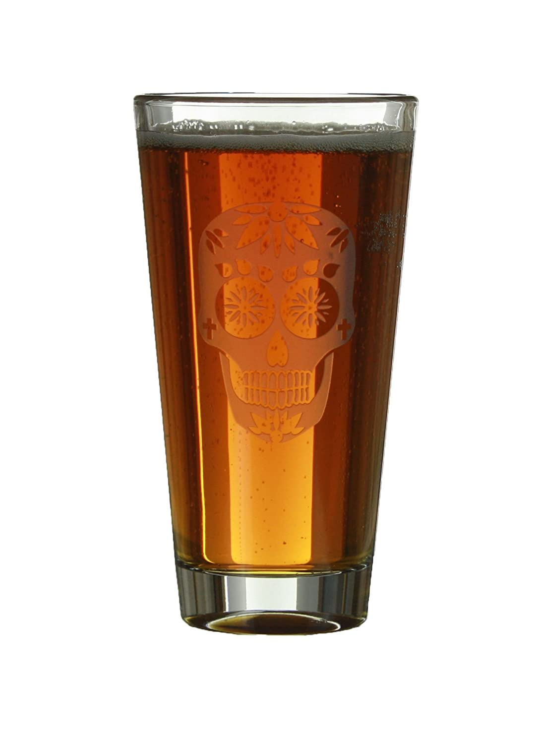 Sugar Skull Engraved Beer/Cider 16oz Pint Glass/Birthday and Anniversary Gift Ideas/By Celery Street (Pint Glass) (Sugar Skull With Hearts on Forehead) Celery Street Design Studios