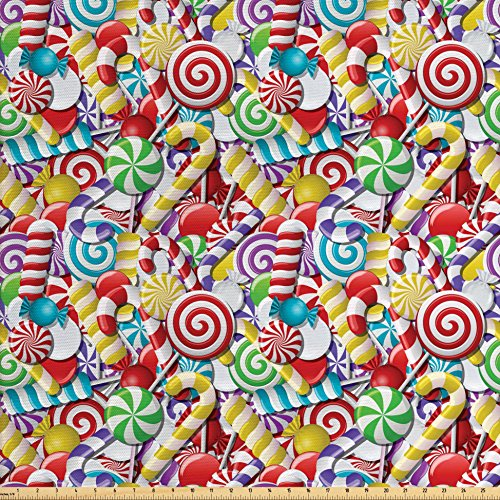 Ambesonne Candy Cane Fabric by The Yard, Bonbons Lollipops Sugary Treats Sweeties Colorful Pile for Festive Occasions, Decorative Fabric for Upholstery and Home Accents, Multicolor