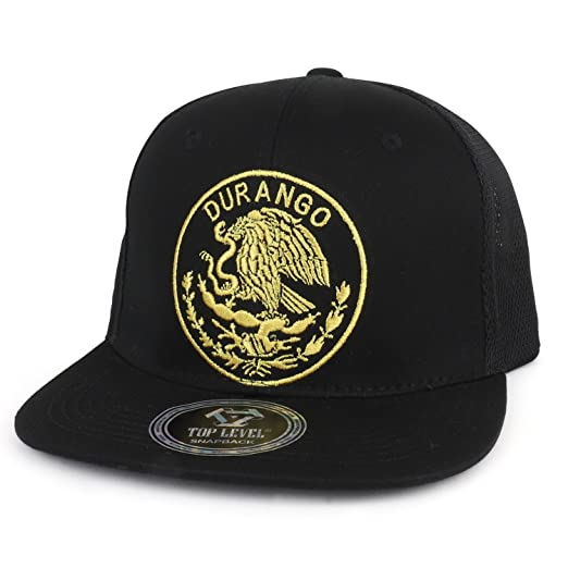 Trendy Apparel Shop City of Mexico Eagle Embroidered Flatbill Trucker Mesh  Cap - Durango Black 29c64fc83a06