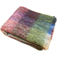 """Mohair Throw Blanket 54"""" x 72"""" Brushed Multicolor Irish Made"""