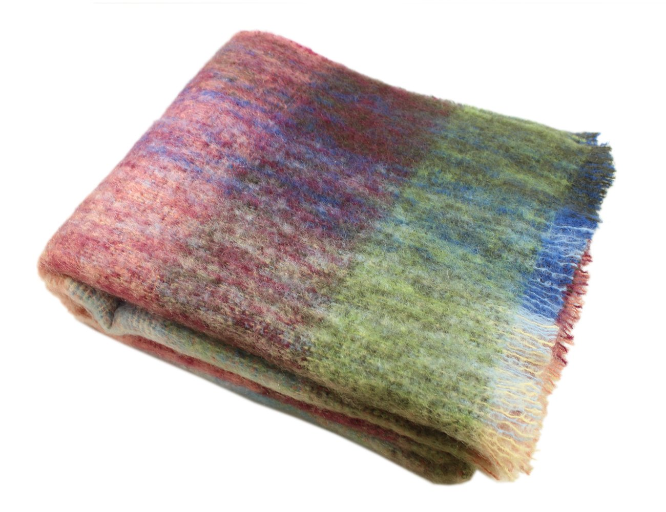 """Throw Blanket Multicolor Mohair 54""""x 72"""" Made in Ireland"""