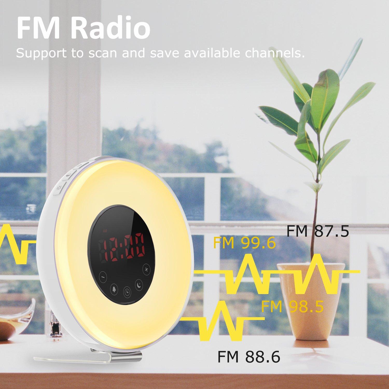 Ifecco Despertador despertador con luz del sol y simulación, noche de la luna del LED más 7 color que cambia la alarma de radio de la ayuda FM, control del tacto