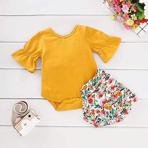 b3ecf9b7b5 Amazon.com  Baulody Newborn Toddler Infant Baby Girls Flare Romper Floral  Print Shorts Outfits Set White  Clothing