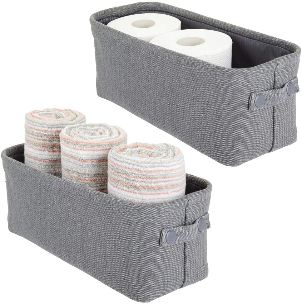 mDesign Soft Cotton Fabric Bathroom Storage with Coated Interior and Attached Handles - Organizer for Towels, Toilet Paper Rolls - for Back of Toilet, Cabinets, and Vanities, 2 Pack - Charcoal Gray