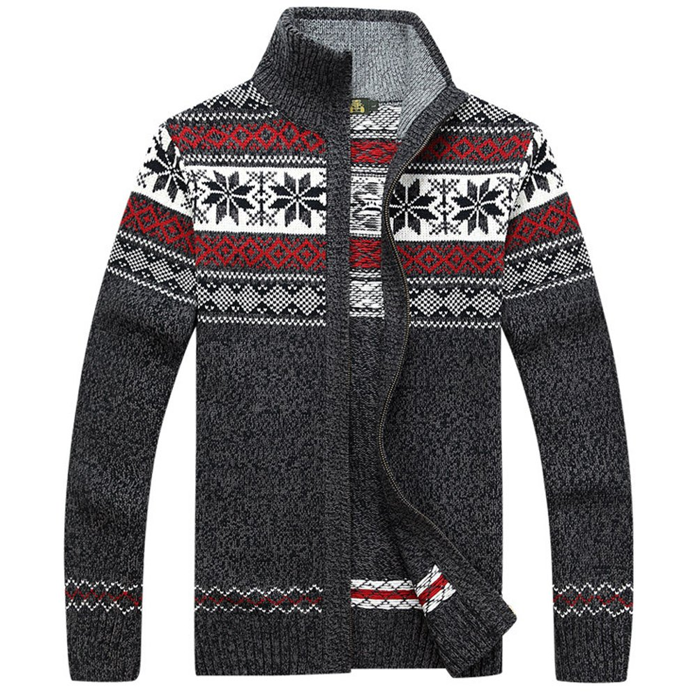 Casual Men's Thick Knitted Zipper Cardigan Sweater with Pattern (Medium, Gray) by Kedera