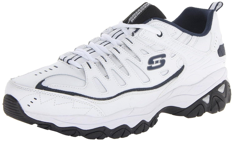 Skechers memoria Sport Fit espuma Reimpresión con cordones de la zapatilla de deporte 48.5 EU|White/Navy