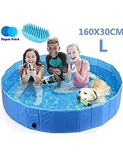Pecute Hundepool Schwimmbad Für Hunde und Katzen Swimmingpool Hund Planschbecken Hundebadewanne Faltbarer Pool mit PVC-Rutschfest Verschleißfest Für Kinder Den Hund Katze Geschenk - Haustier Badebürste (3 Größe)