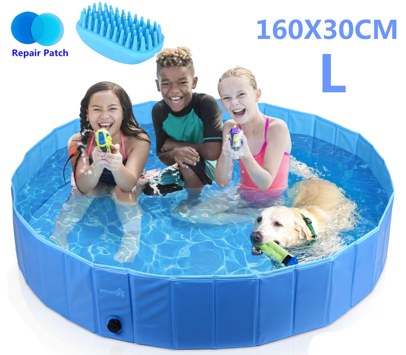 Pecute Dog Pool PVC Outdoor Pool Bathing Tub Portable Pet Playing Pool for Dogs Cats and Kids -(Large,Φ63 × H12 Inches)