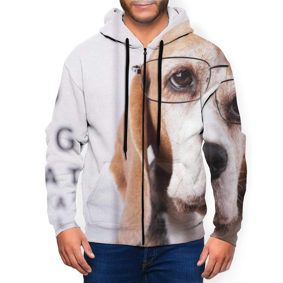 Owotyc Dog Glasses Dog Breed Puppy Youthful Personality Zipper Men Hoodie with Packet Black by Owotyc