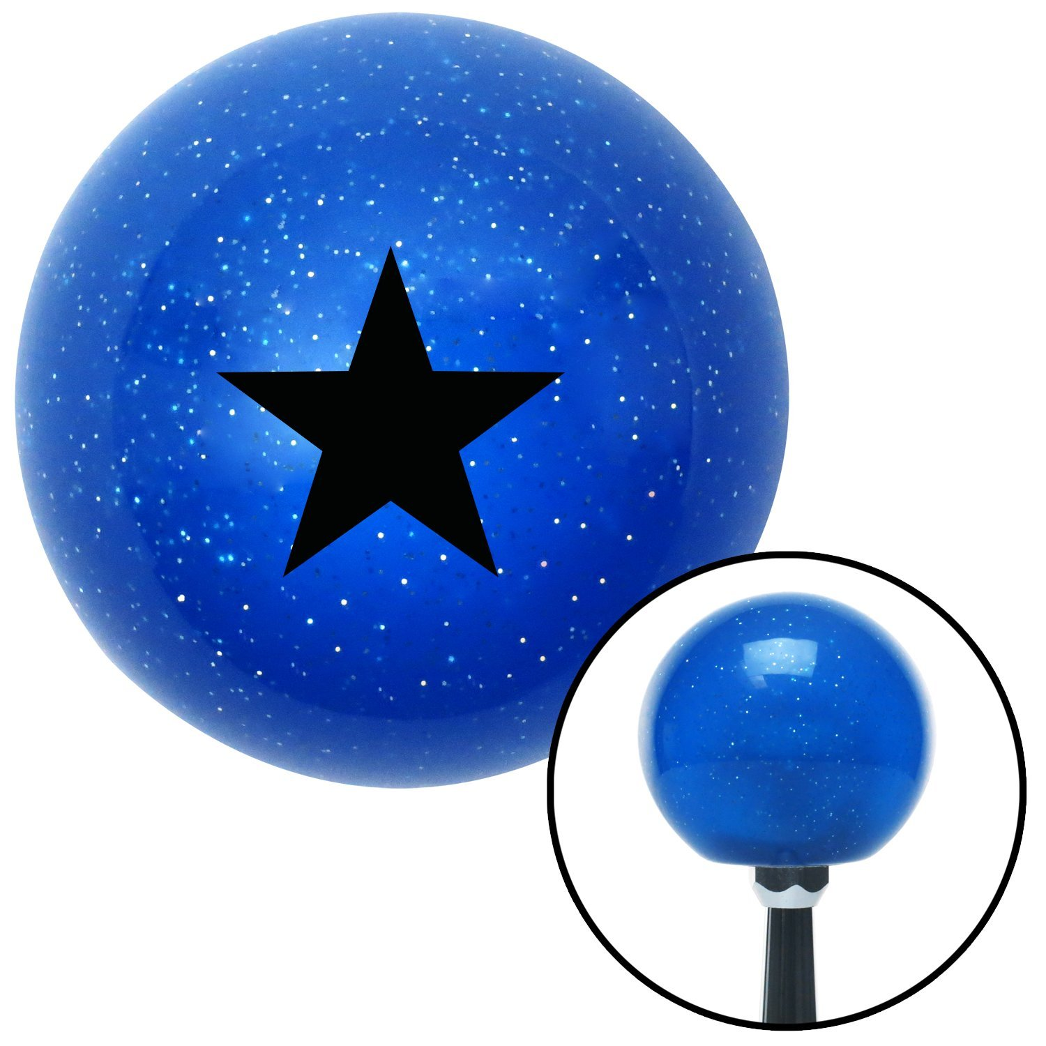 Black Brigadier General American Shifter 26175 Blue Metal Flake Shift Knob