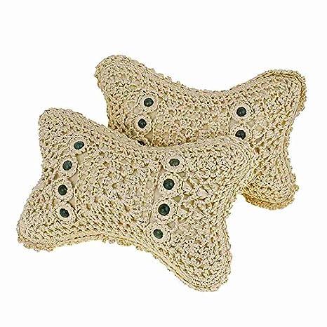2 pieza Beige Nylon esponja relleno Crochet de tipo de Auto ...